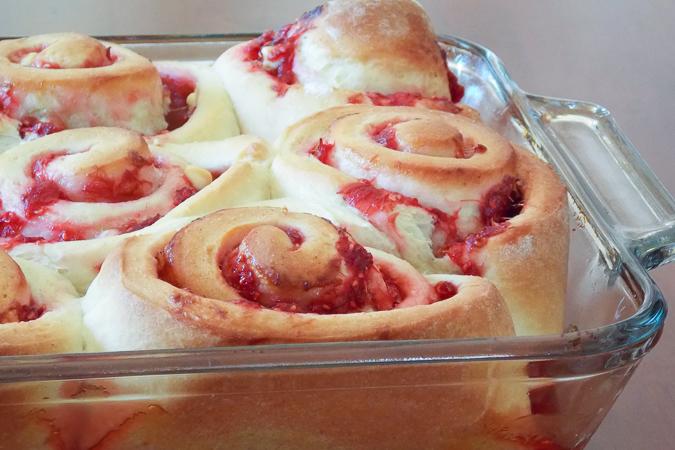 Raspberry Rhubarb Sweet Rolls Unfrosted