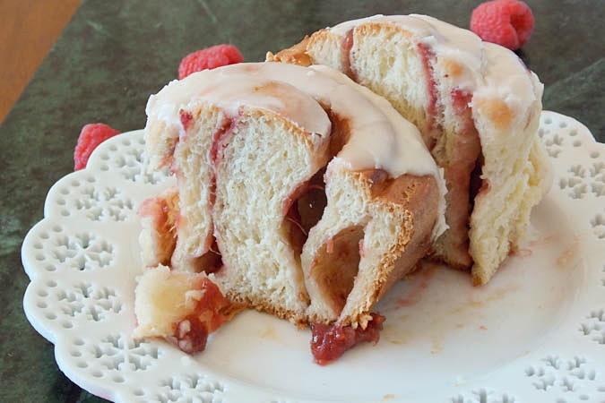 Raspberry Rhubarb Sweet Rolls cut