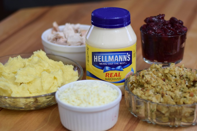 Ingredients for Hellmann's Turkey Thanksgiving Casserole