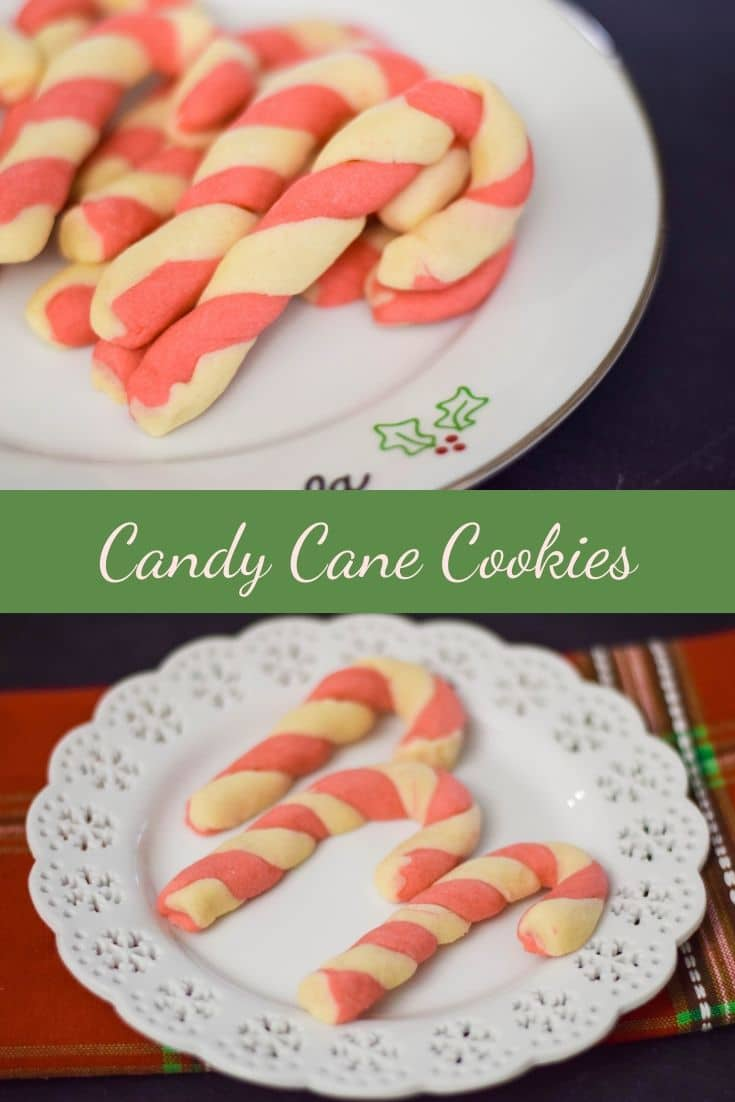 Candy Cane Cookies are a festive, fun, and delicious treat to make for the holidays #candycanecookies #holidaycookies #holidaybaking #baking #peppermint