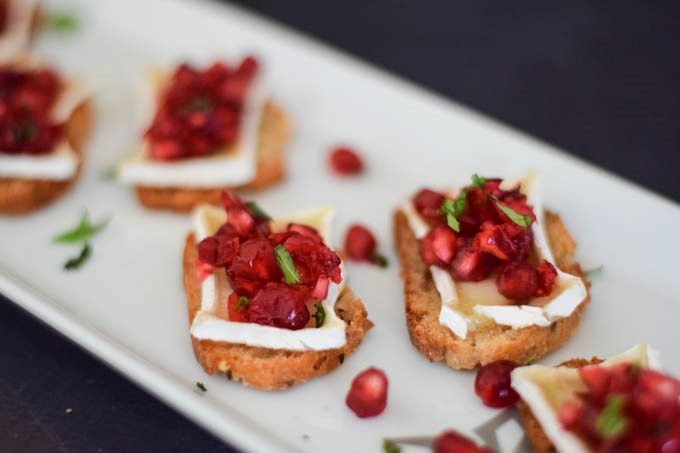 Holiday Bruschetta with Pomegranate and Brie