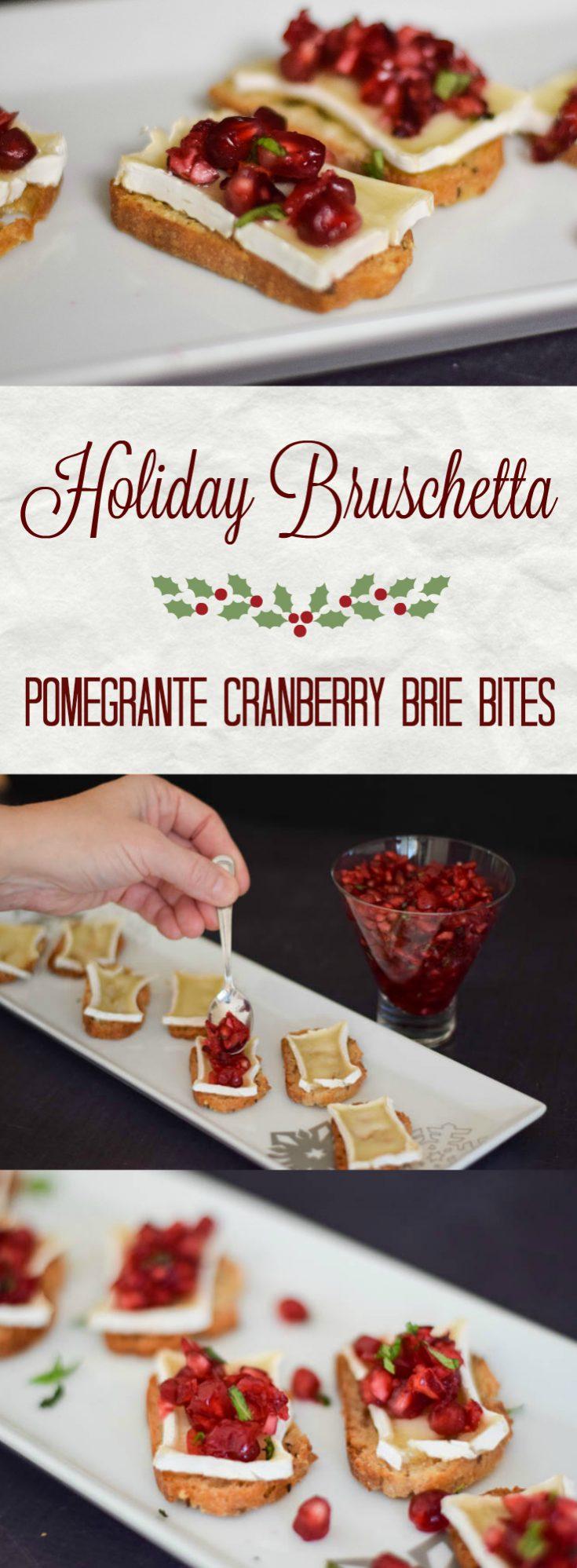 Holiday Bruschetta #appetizer #holidayappetizer #pomengranate #briecheese