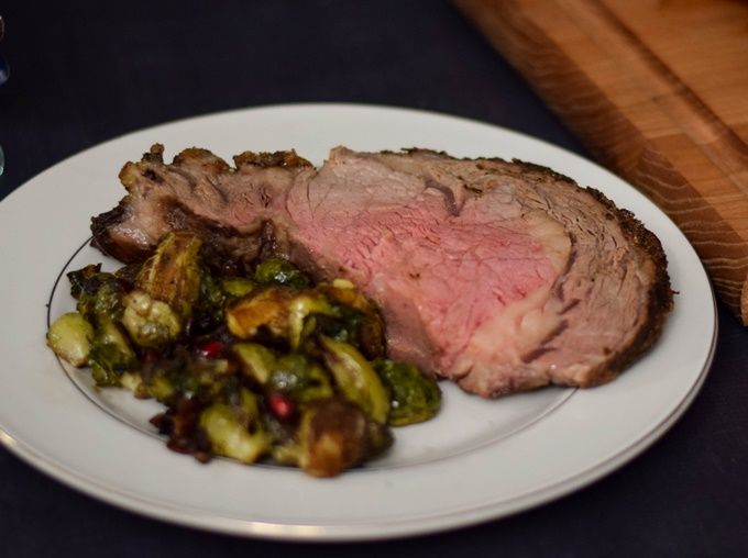 Prime Rib Roast with Brussels Sprouts