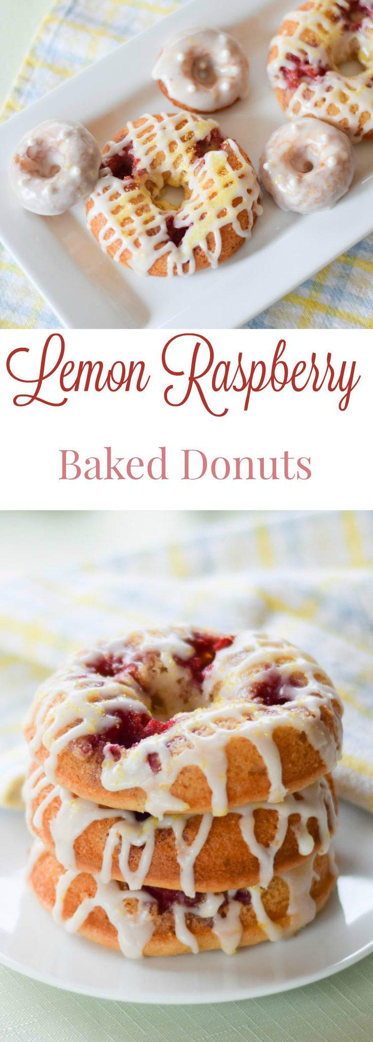 Raspberry LemonBaked Donuts #baking #doughnuts #donuts #lemon