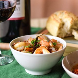 Garlicky Shrimp with Pancetta Olive Oil #SundaySupper