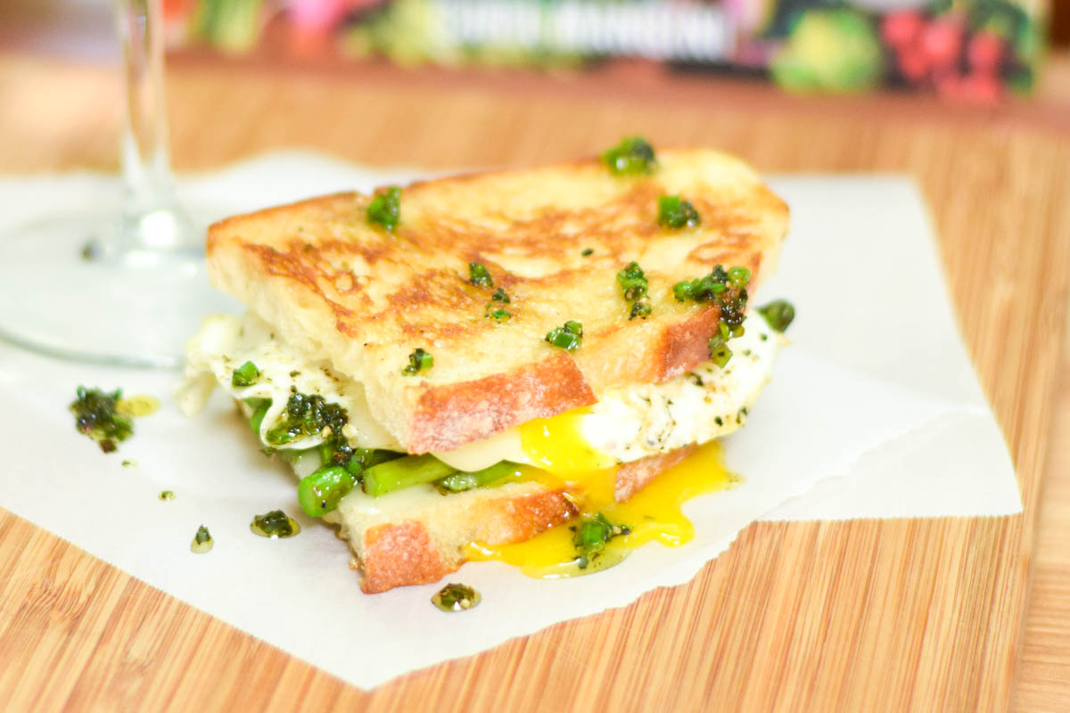 Grilled Asparagus, Taleggio, and Fried Egg Panini