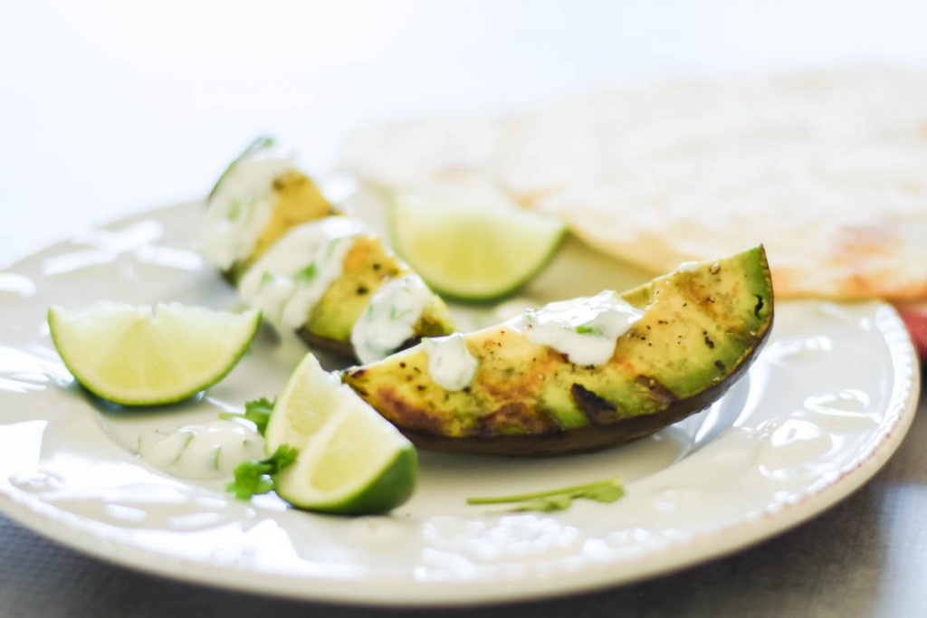 Grilled Avocado with Cilantro-Lime Cream