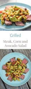 Steak with Grilled Corn and Avocado Salad