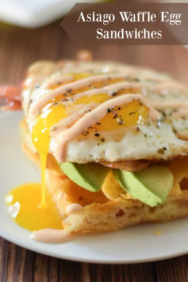 Asiago Waffle Egg Sandwiches #breakfast #eggs #cheese #sandwiches