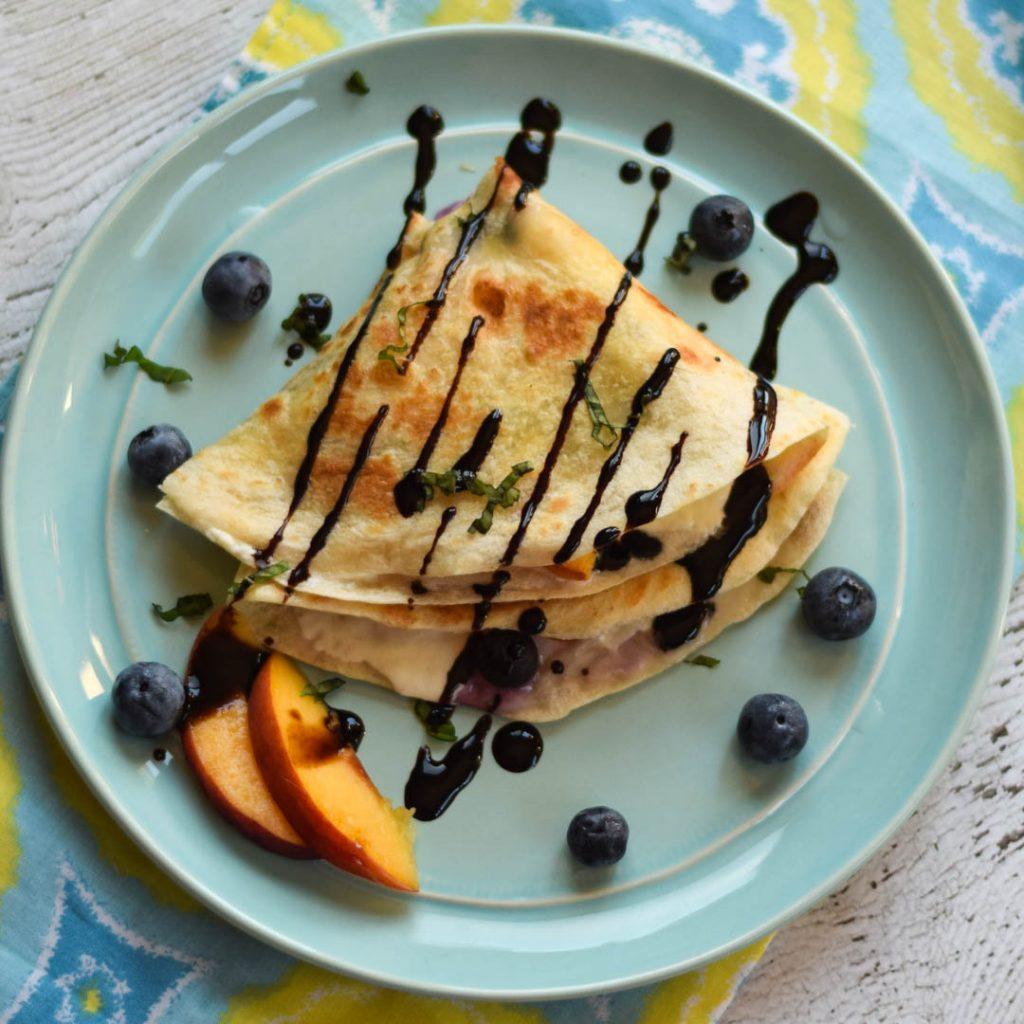 Peach Blueberry Burrata Quesadilla