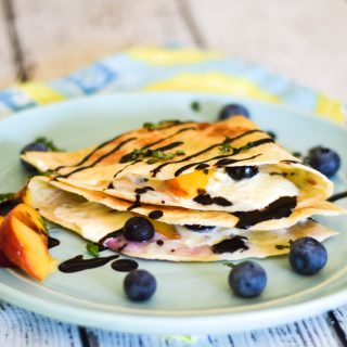 Peach Blueberry Burrata Quesadilla #SundaySupper