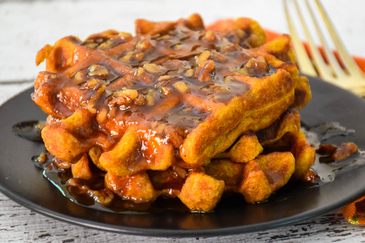 Pumpkin Spice Waffles with Pumpkin Praline Syrup