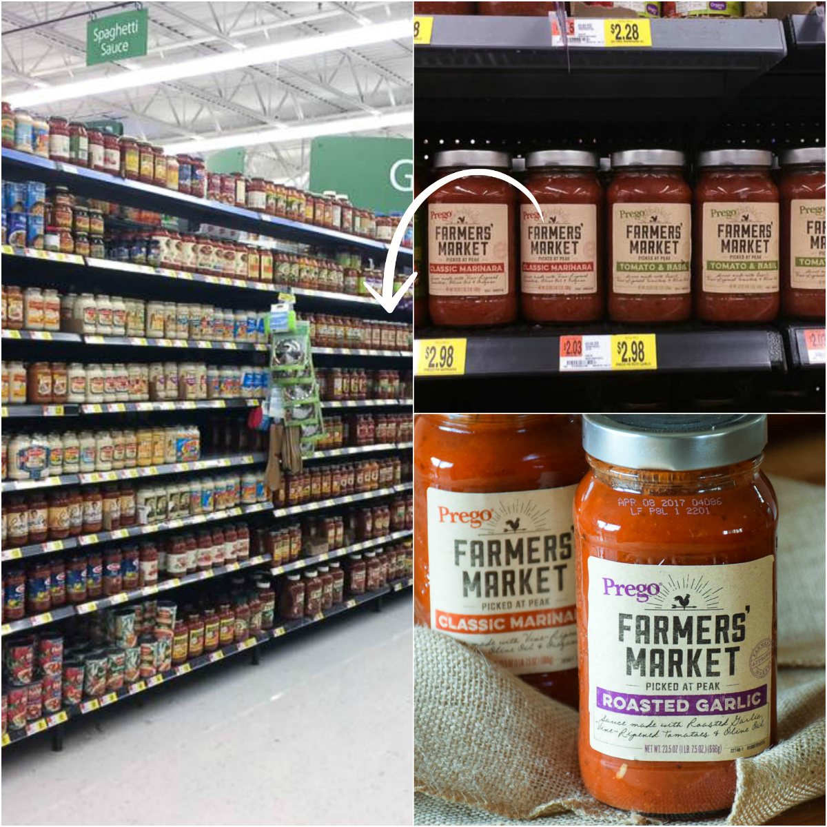 Walmart Store Collage Prego Farmers' Market® Roasted Garlic