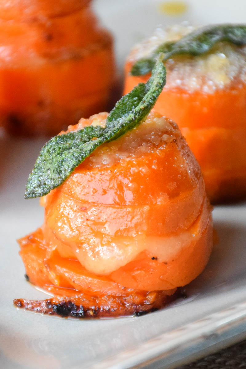 Sweet Potato Stacks with Parmesan Sage Topping