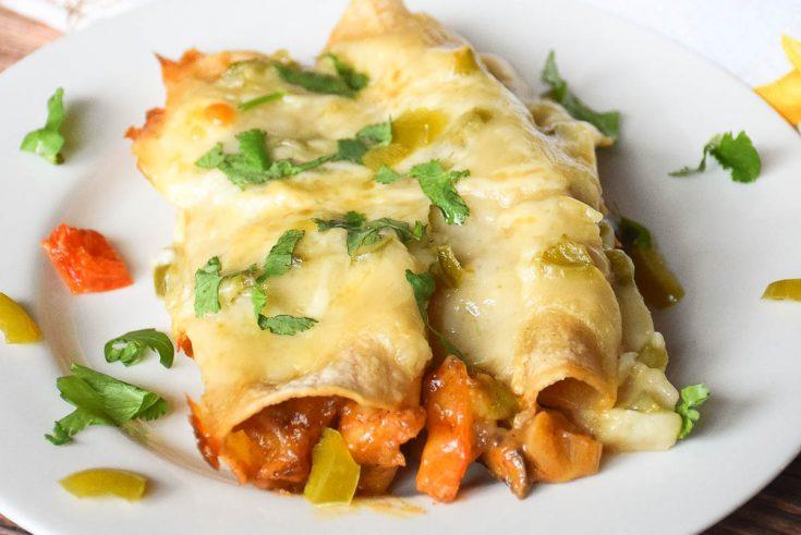 Roasted Shrimp Enchiladas with Cheesy Jalapeno Sauce