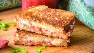 Grilled Cheese Sandwich with Bacon, Jalapeno and Rhubarb Sauce