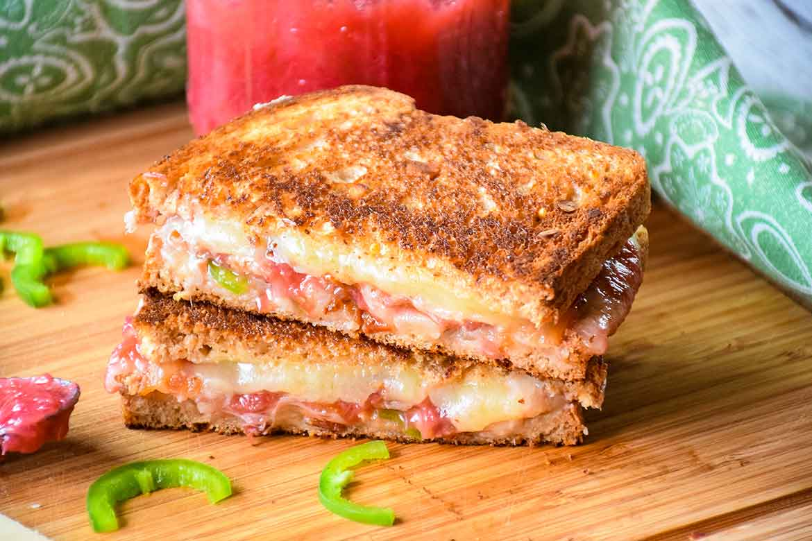Grilled Cheese Sandwich with Bacon, Jalapeno & Rhubarb Sauce