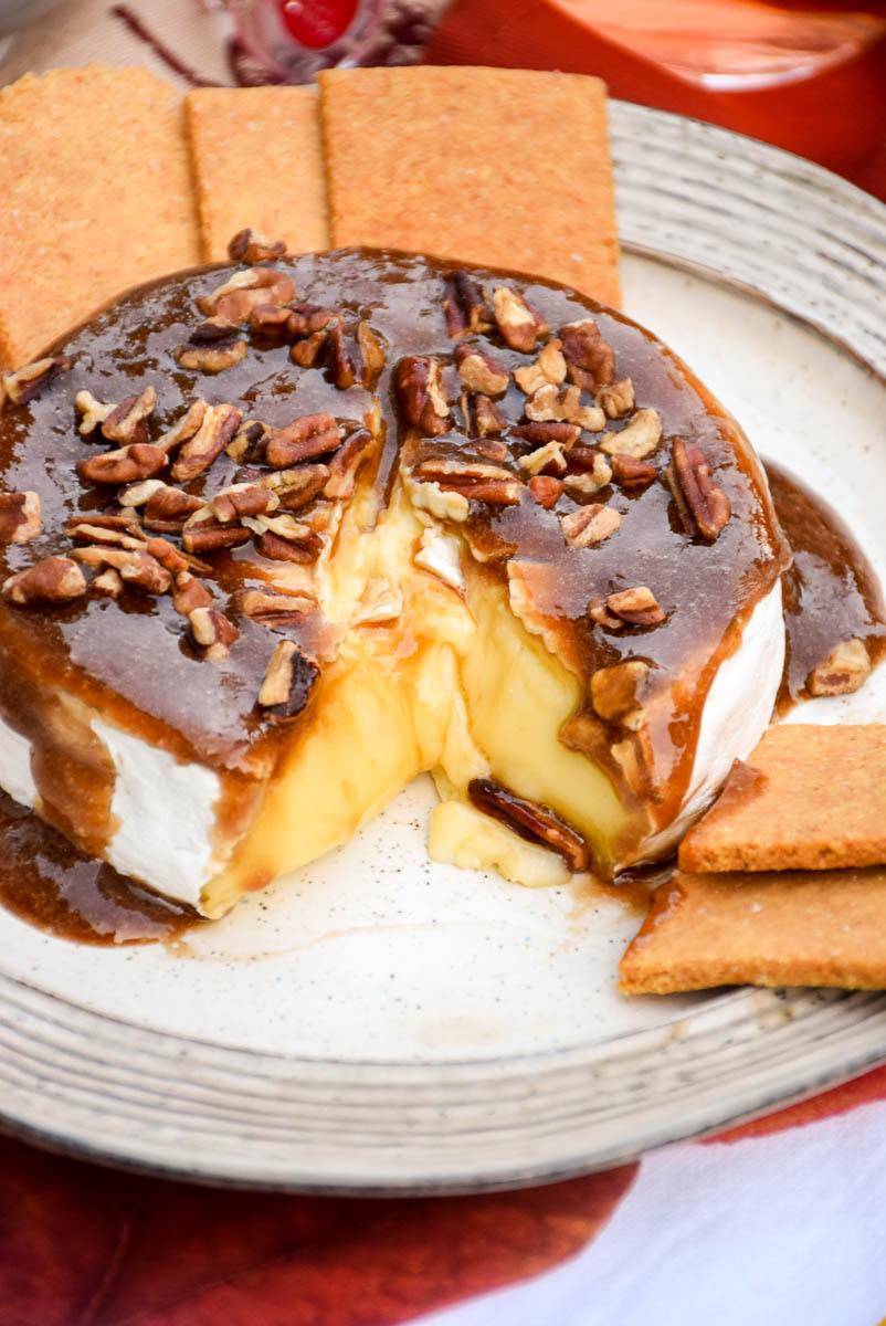 Baked Brie with Sugar Free Maple Pecan Topping