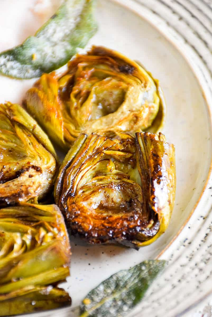 Browned Butter Braised Artichokes