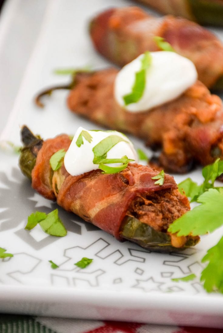 Keto Bacon Wrapped Stuffed Jalapenos #appetizer #jalapeno #keto #veal #pork