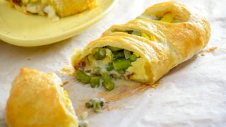 Asparagus, Bacon, Egg and Cheese Strudel