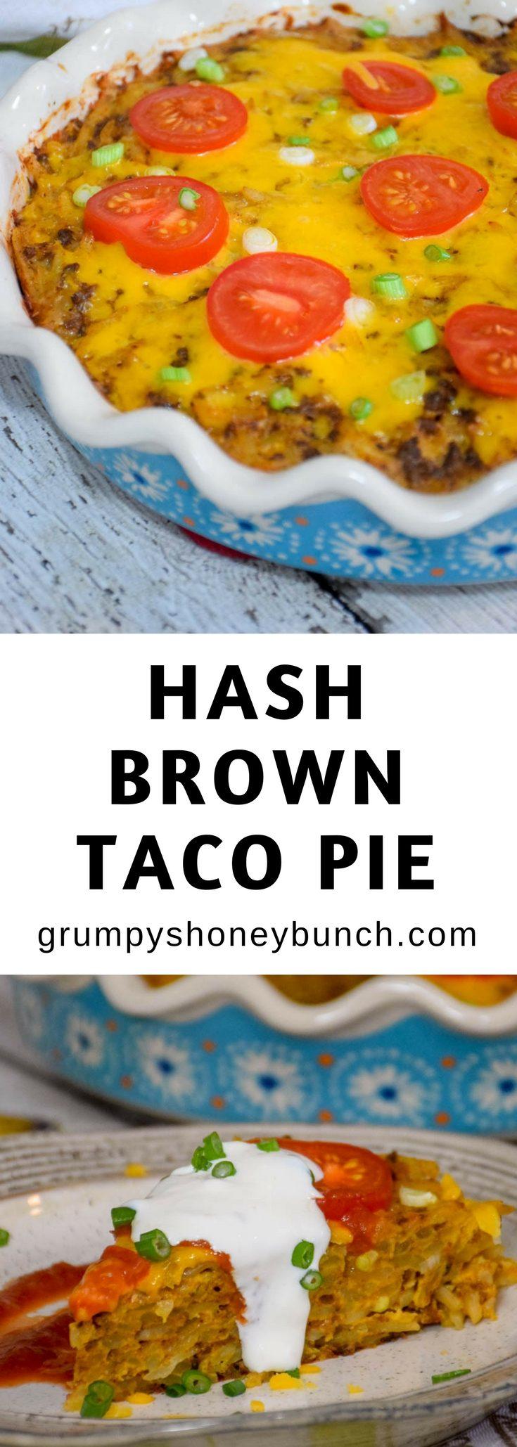Hash Brown Taco Pie #casserole #mexican #potatoes, #taco #pie