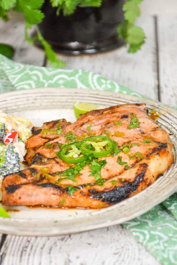Cilantro Lime Grilled Pork Chops - Keto Recipe