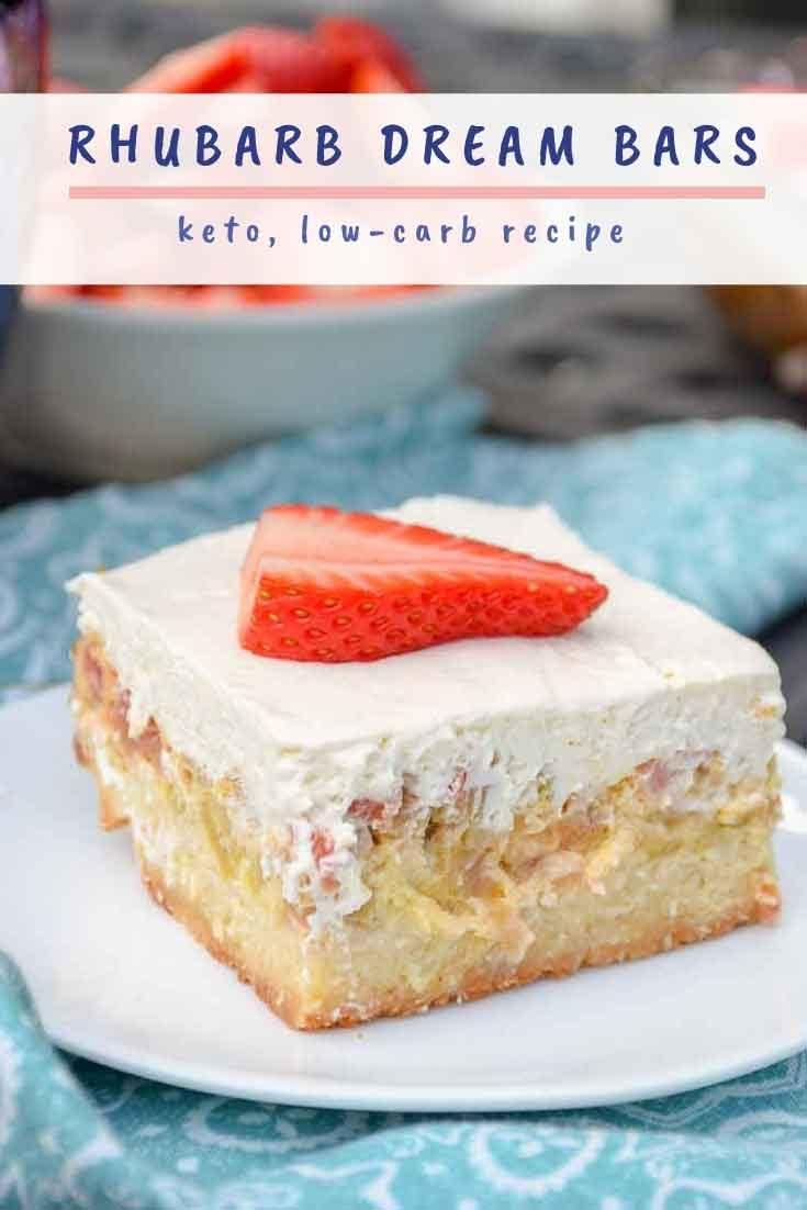 Keto Rhubarb Dream Bars #rhubarb #baking #dessert #lowcarb #keto