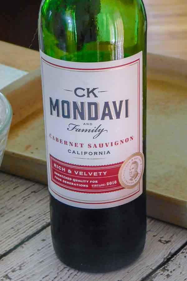 bottle of ck mondavi cabernet sauvignon