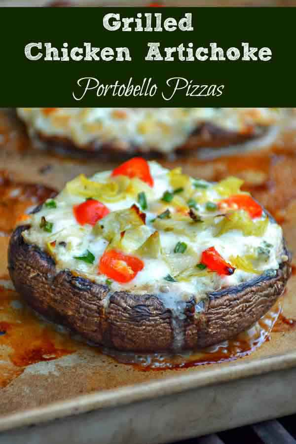 pinnable image for grilled chicken artichoke mushroom pizza