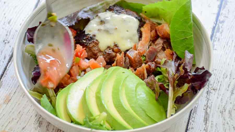 assembling the salad bowl