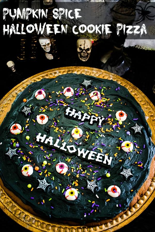 Pumpkin Spiced Halloween Cookie Pizza #HalloweenTreatsWeek #pumpkin #cookie #recipe #baking