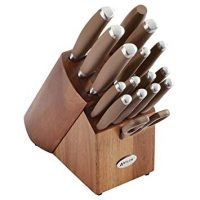 Anolon SureGrip 17-Piece Japanese Stainless Steel Knife Block Set, Bronze