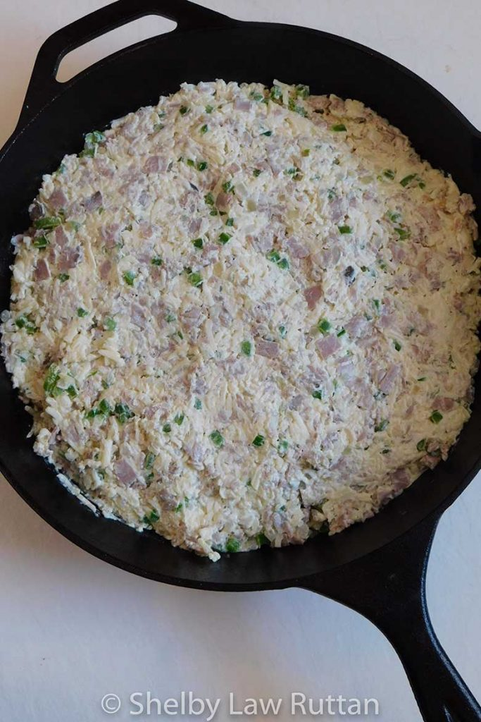 Philly Cheesesteak Skillet Dip in the skillet before baking