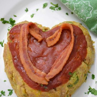 Heart Shaped Veal Meatloaf Recipe overhead shot #veal #groundveal #meatloaf #valentine