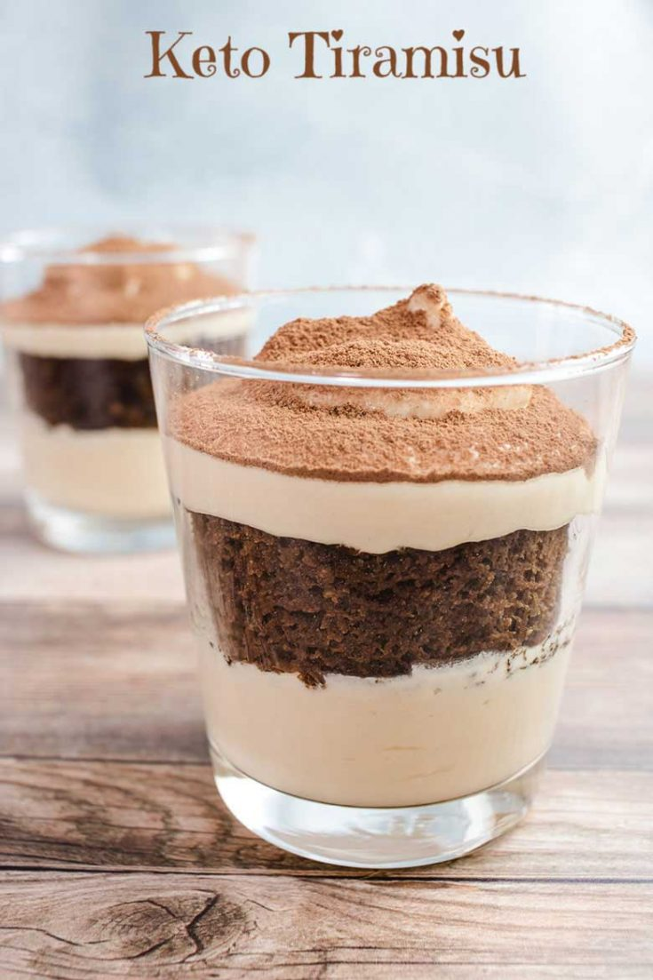 Keto Tiramisu is a perfect low carb dessert for two, perfect for you special Valentine or date night dessert! #tiramisu #dessert #dessertfortwo #keto #ketorecipe #sugarfree