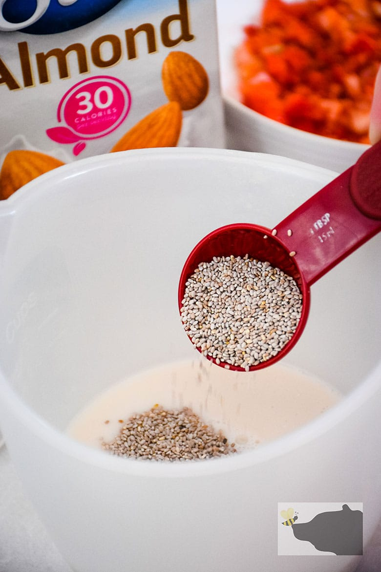 Chia seed in tablespoon, sprinkling over top of almond milk.
