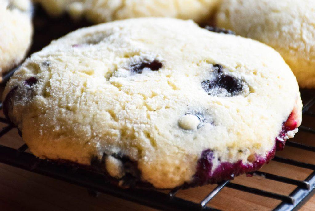 Tender Blueberry Cookies cooling on cookie rack