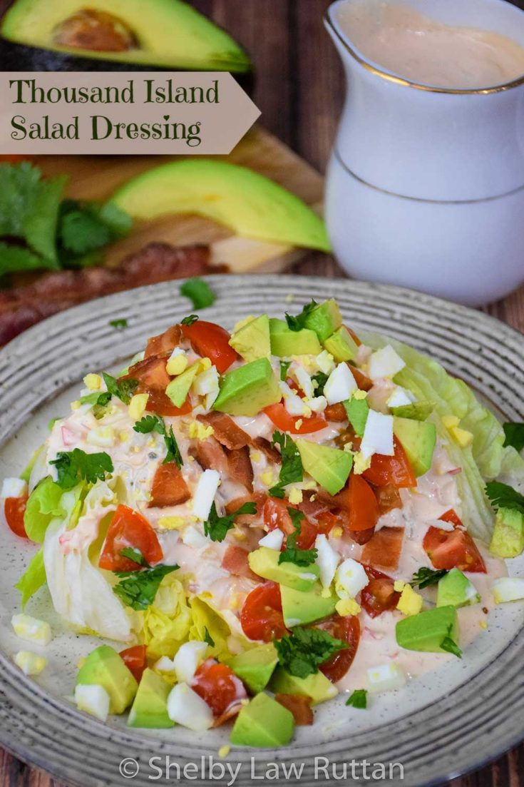 Thousand Island Salad Dressing is a sweet and tangy homemade dressing. This low carb and sugar-free sauce is perfect for salads, sandwiches, burgers, and dipping! #