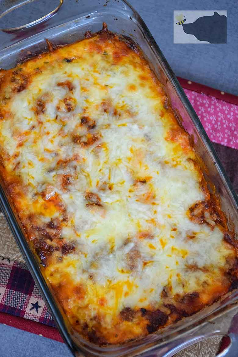 A pan of low carb lasagana comfort food cooling!