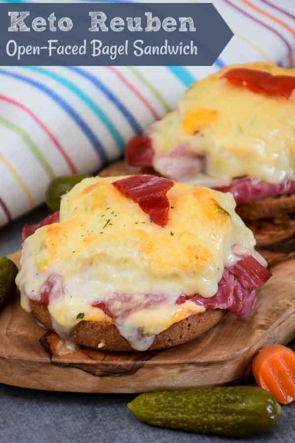 Keto Reuben an Open-Faced Bagel Sandwich #ketoreuben #reuben #sandwich #bagel