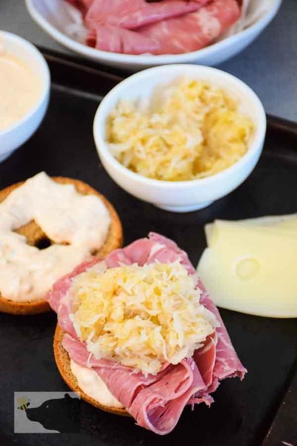 Reuben Assembled with dressing meat, and sauerkraut,