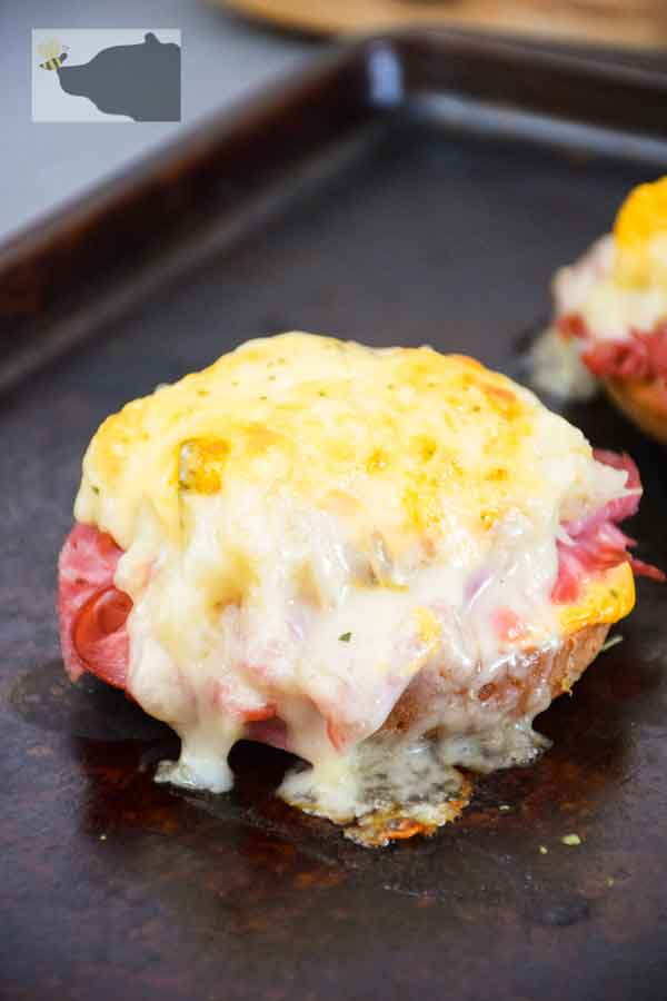 Broiled Keto Reuben Sandwich - Open Faced Bagel Melt on baking sheet