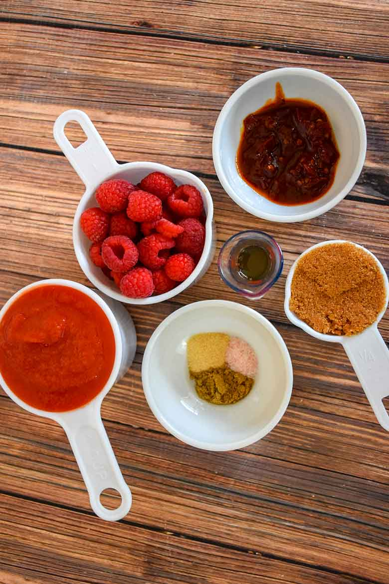 Ingredients measure out for sauce