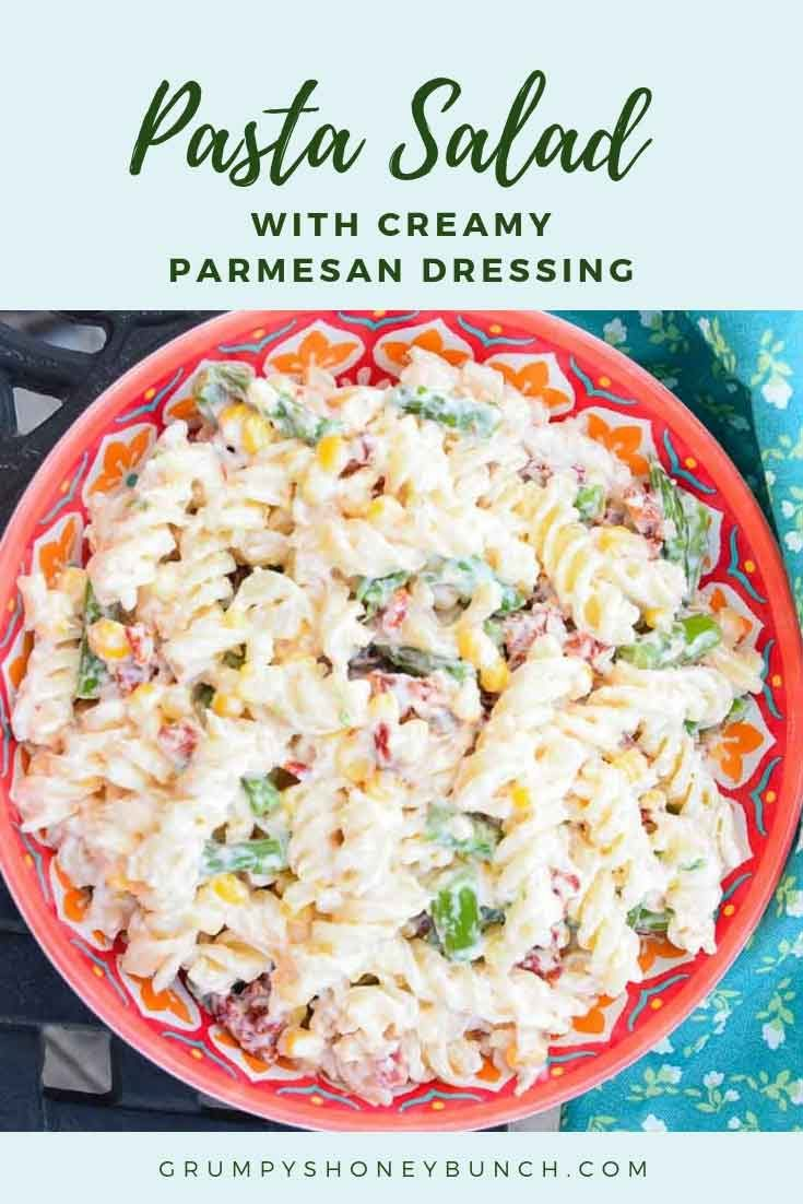 Pasta Salad with Creamy Parmesan Dressing #pasta #parmesan #salad #potluck #recipe