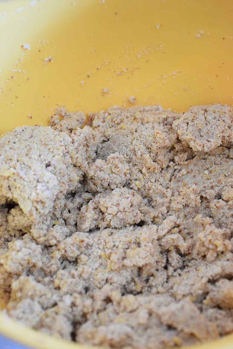 dough with all ingredients except egg whites added to it
