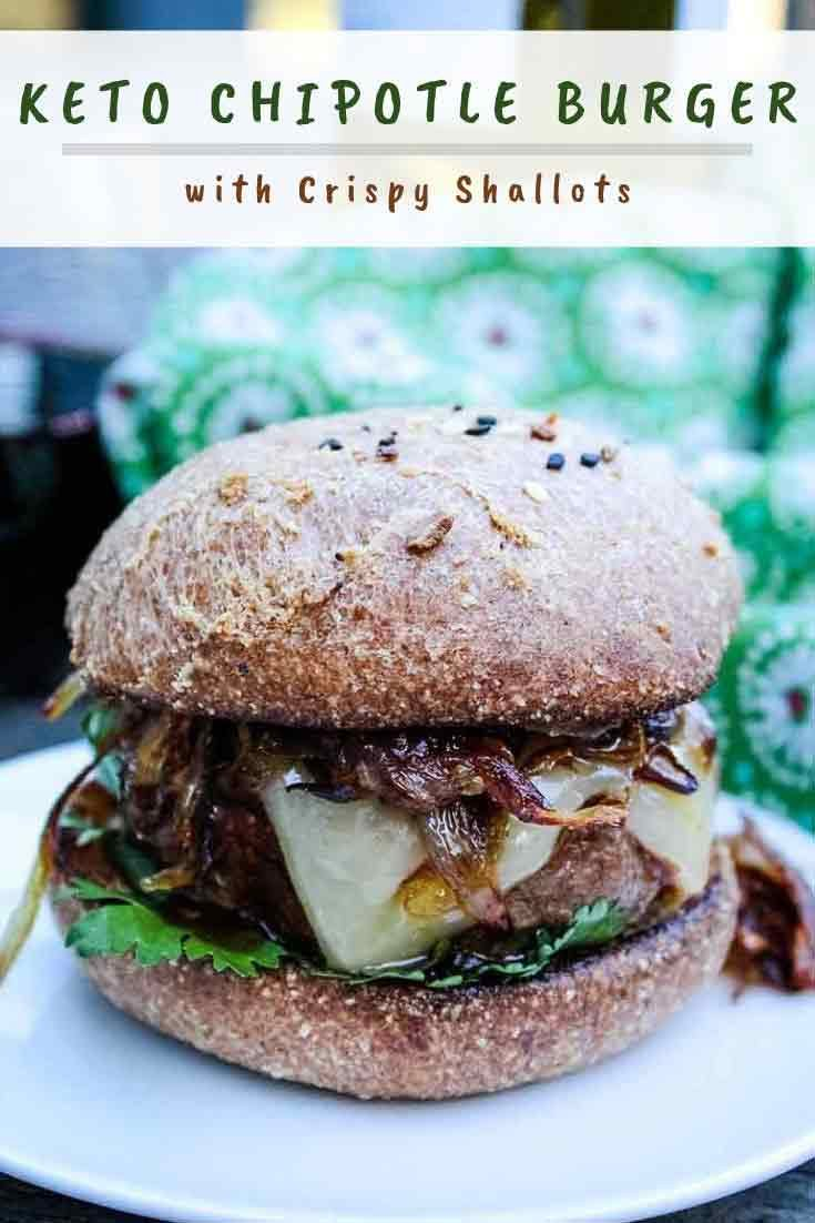 Chipotle Beef Burger Recipe with Crispy Fried Shallots #beef #burgermonth #chipotle #gourmet