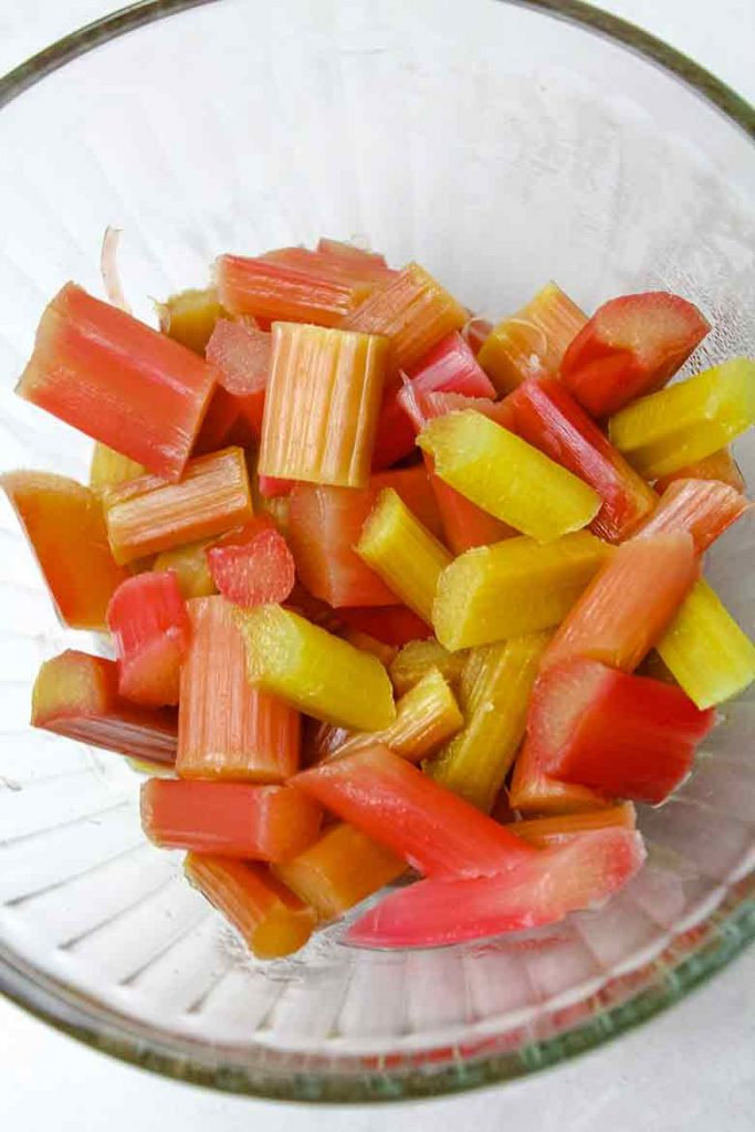 Steeped Rhubarb in a glass bowl