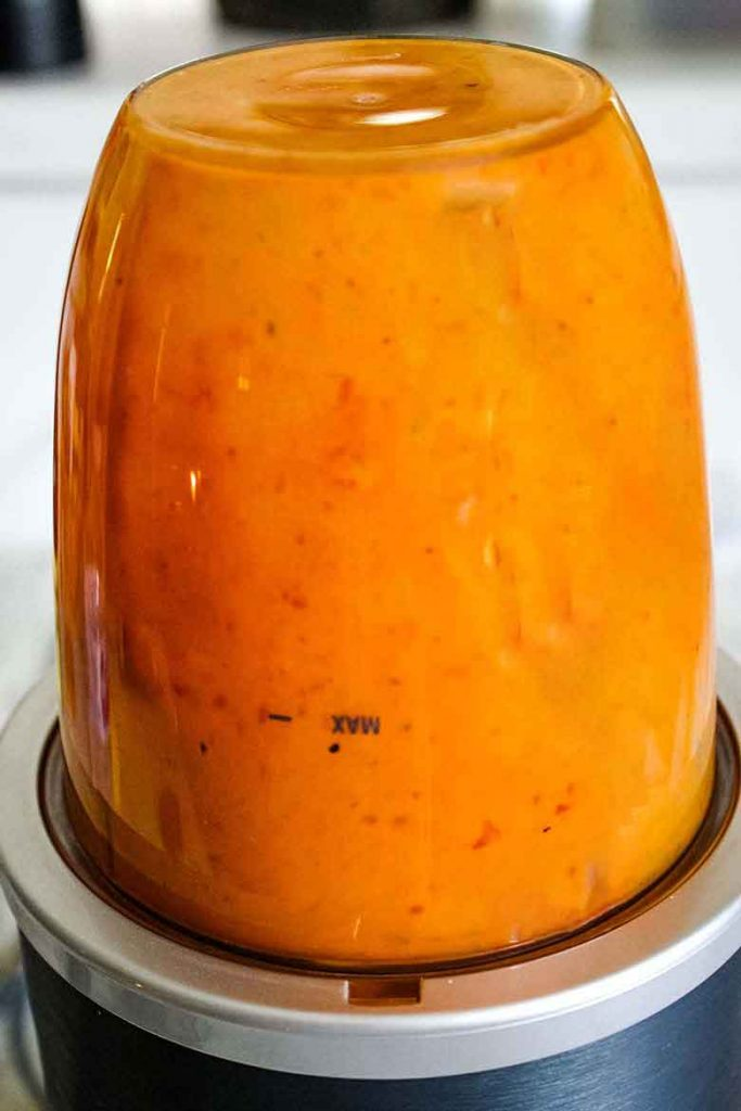 Buffalo Sauce in the processor