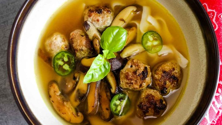 Pho Soup with Spicy Veal Meatballs